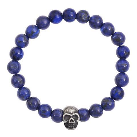 Stephen Oliver Oxidized Silver Plated Skull Lapis Bracelet