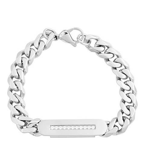 Stephen Oliver Silver Plated CZ Id Bracelet