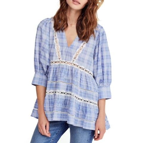 Free People Blue Time Out Lace Tunic