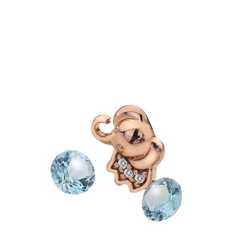 Anais Paris by Hot Diamonds Rose Gold Plated Elephant Charm with Blue Topaz Cabochons