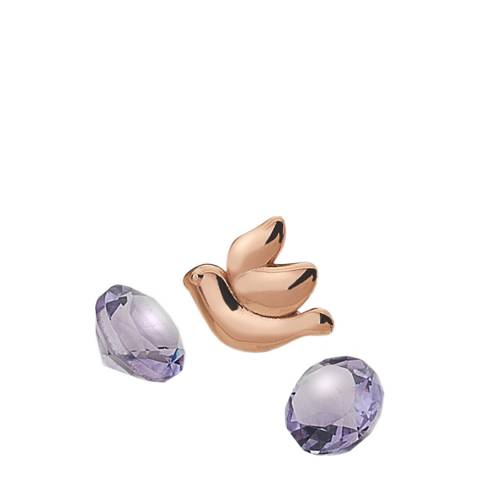 Anais Paris by Hot Diamonds Rose Gold Dove Charm with Amethyst Cabochons