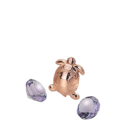 Anais Paris by Hot Diamonds Rose Gold Plated Turtle Charm with Amethyst Cabochons