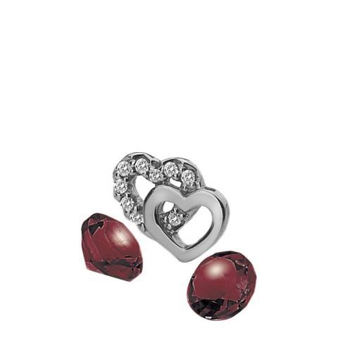 Anais Paris by Hot Diamonds Double Heart Charm with Garnet Cabochons