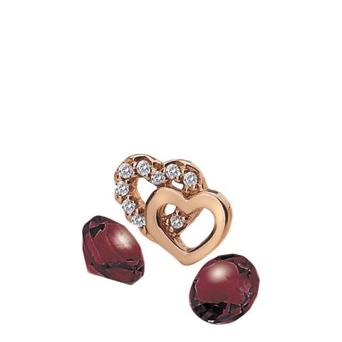 Anais Paris by Hot Diamonds Rose Gold Plated Double Heart Charm with Garnet Cabochons
