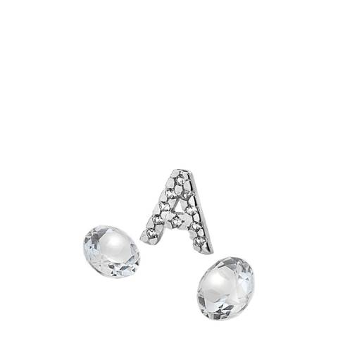 Anais Paris by Hot Diamonds Silver Letter A Charm with White Topaz Cabochons