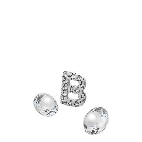 Anais Paris by Hot Diamonds Silver Letter B Charm with White Topaz Cabochons