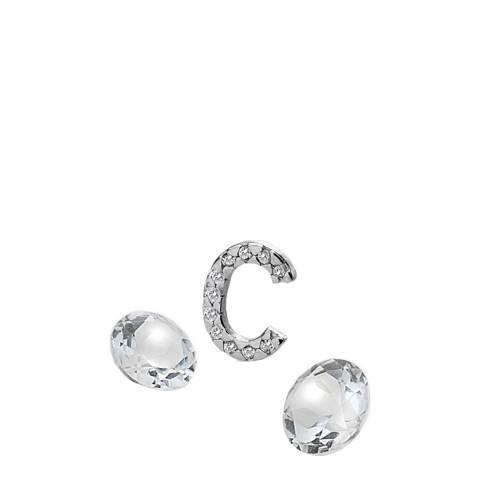 Anais Paris by Hot Diamonds Silver Letter C Charm with White Topaz Cabochons
