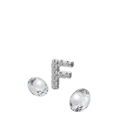 Anais Paris by Hot Diamonds Silver Letter F Charm with White Topaz Cabochons