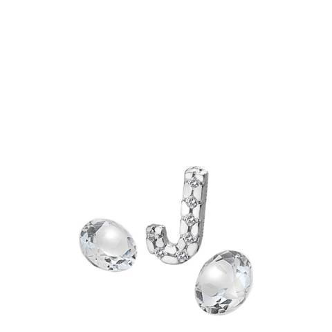 Anais Paris by Hot Diamonds Silver Letter J Charm with White Topaz Cabochons