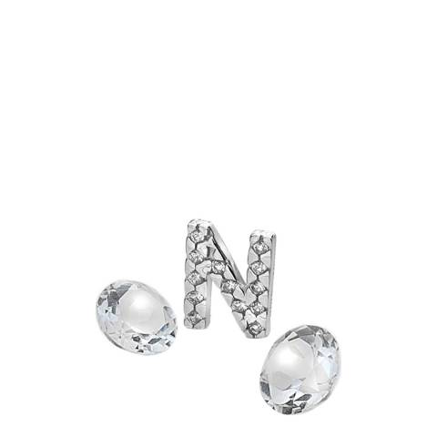 Anais Paris by Hot Diamonds Silver Letter N Charm with White Topaz Cabochons