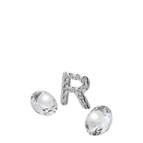 Anais Paris by Hot Diamonds Silver Letter R Charm with White Topaz Cabochons
