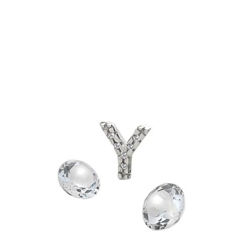 Anais Paris by Hot Diamonds Silver Letter Y Charm with White Topaz Cabochons