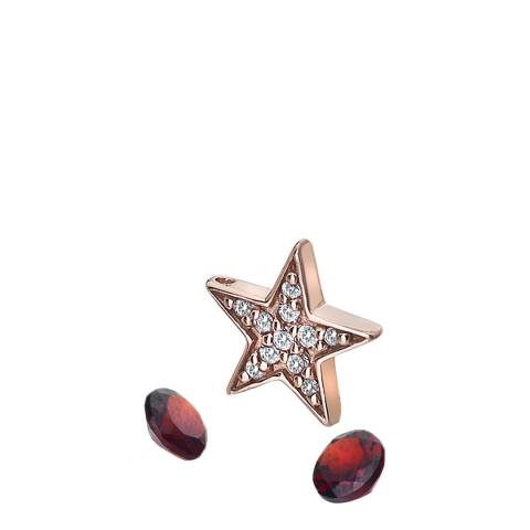 Anais Paris by Hot Diamonds Rose Gold Plate Star Charm and Garnet stones