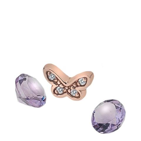 Anais Paris by Hot Diamonds Butterfly Charm - Rose Gold Plate with Amethyst Stones
