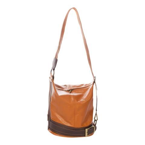 Massimo Castelli Cognac Leather Shoulder Bag