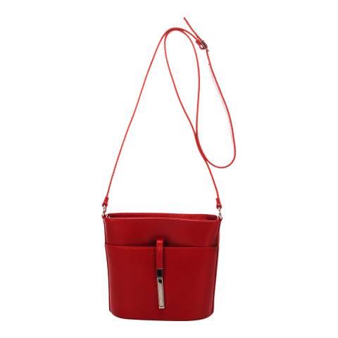 Markese Red Leather Shoulder Bag