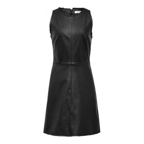 Reiss Black Sahara Leather Halter Dress