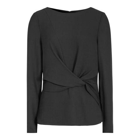 Reiss Black Millie Knotted Top