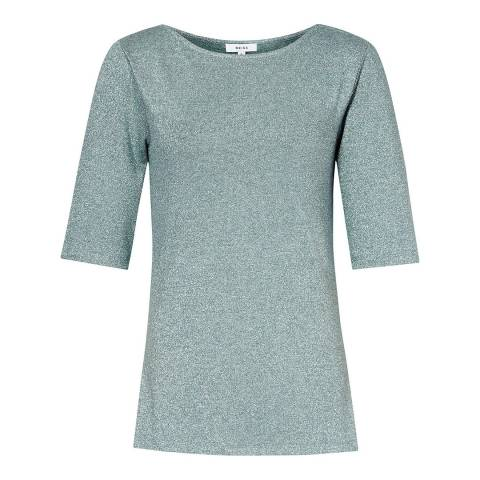 Reiss Green Joey Metallic T-Shirt