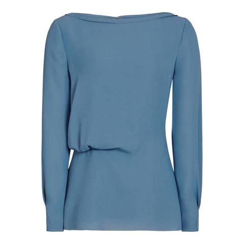 Reiss Blue Nina Draped Top