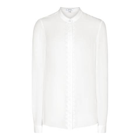 Reiss White Francois Silk Blouse