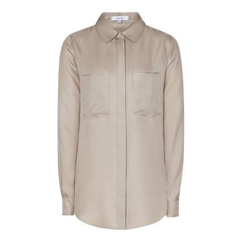Reiss Taupe Meera Silk Shirt
