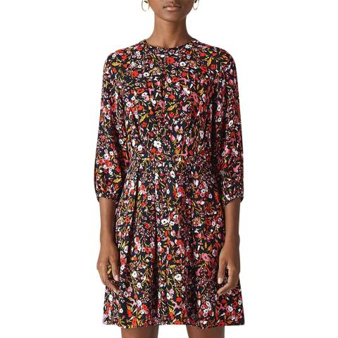 WHISTLES Pink Floral Meadow Flippy Dress