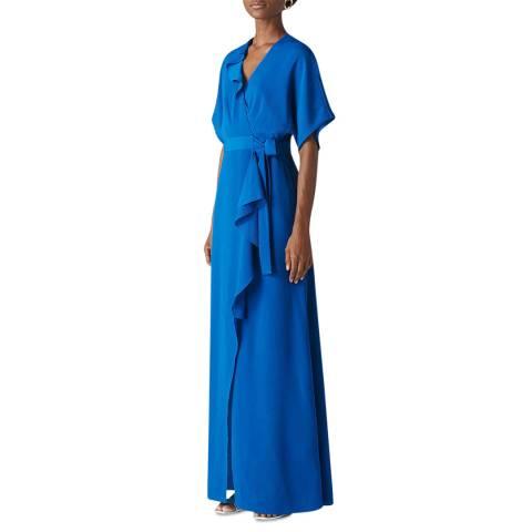 WHISTLES Blue Nova Frill Maxi Dress