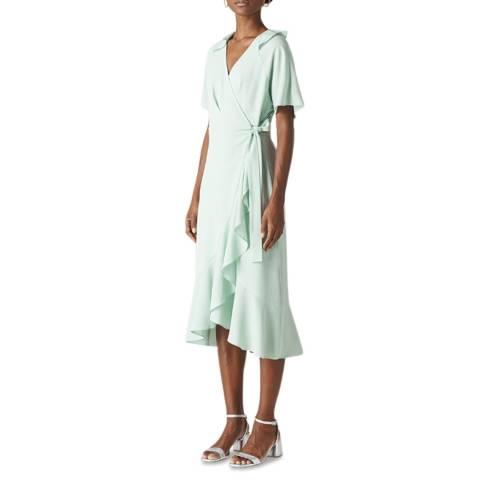 WHISTLES Pale Green Abigail Frill Wrap Dress