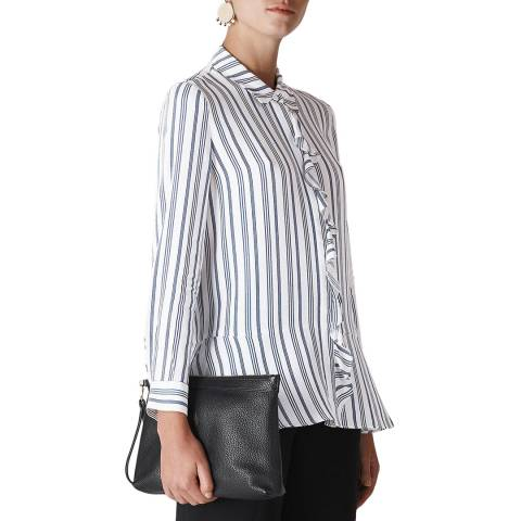 WHISTLES White Stripe Frill Front Shirt