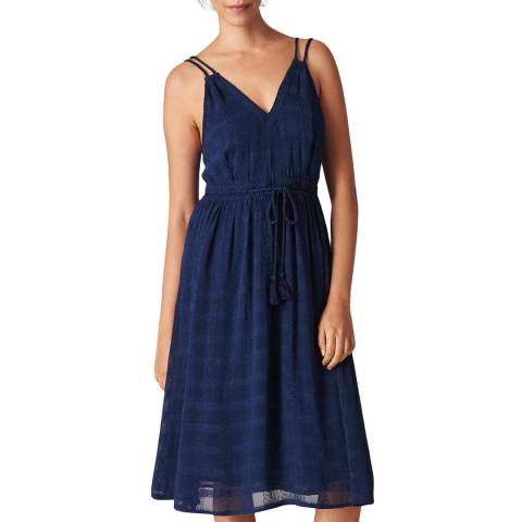 WHISTLES Navy Hari Textured Strappy Dress