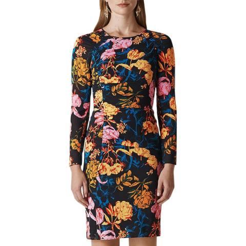 WHISTLES Multi Digital Bloom Silk Blend Dress
