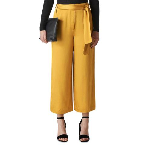 WHISTLES Gold Satin Belted Wide Trousers