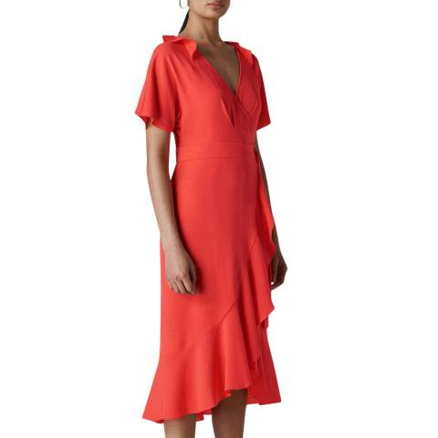 WHISTLES Coral Abigail Frill Wrap Dress