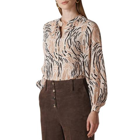 WHISTLES Multi Reed Print Silk Shirt