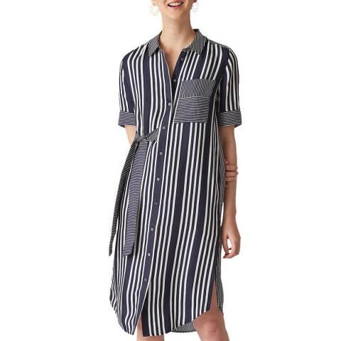 WHISTLES Navy Multi Stripe Dress