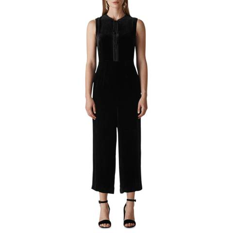 WHISTLES Black Florrie Silk Mix Jumpsuit
