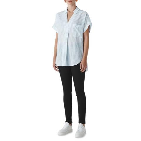 WHISTLES White/Blue Lea Stripe Shirt