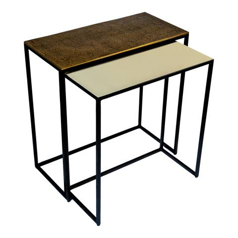 Content by Terence Conran Fera, Duo of Rectangular Side Tables - Cast/Pebble