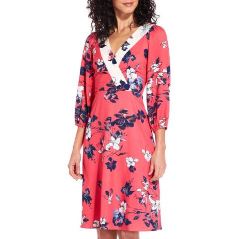 Adrianna Papell Red/Ivory Blooms Faux Wrap Dress