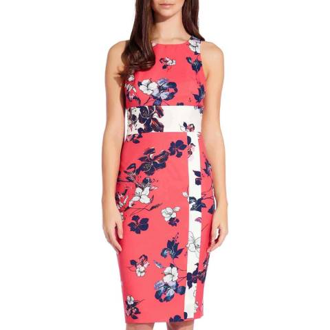 Adrianna Papell Red/Ivory Etched Blooms Sheath Dress
