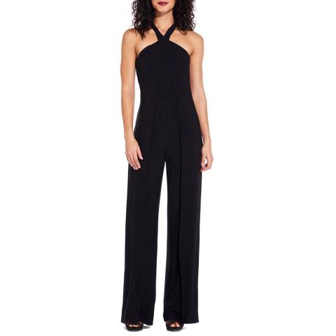 Adrianna Papell Black Foil Jersey Jumpsuit