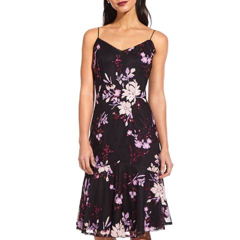 Adrianna Papell Black/Multi Floral Sequin Dress
