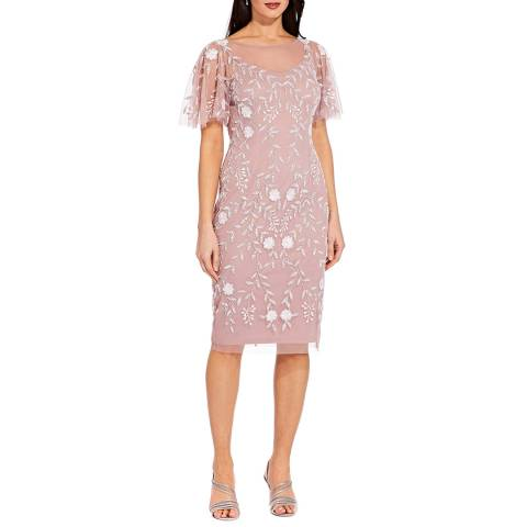 Adrianna Papell Pink Beaded Short Dress