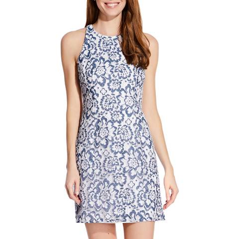 Adrianna Papell Blue/White Elise Lace Dress
