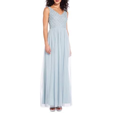 Adrianna Papell Aqua Beade Long Dress