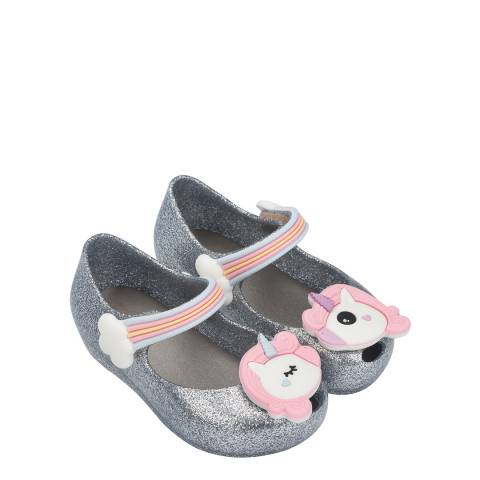 Mini Melissa Silver Glitter Mini Ultragirl Unicorn Shoe