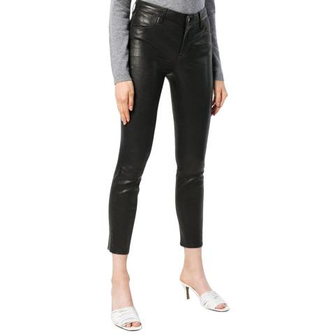 J Brand Black Alana Crop Skinny Leather Jeans