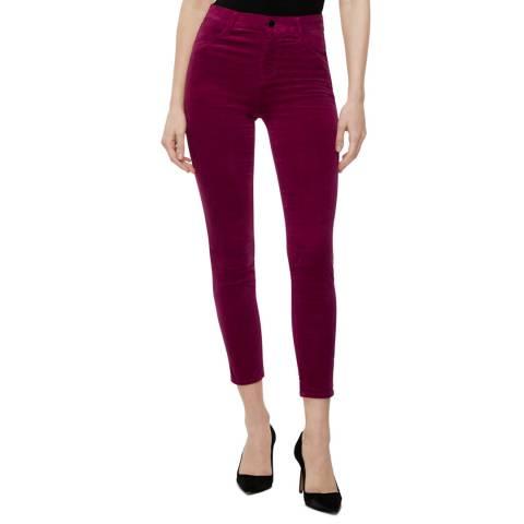 J Brand Deep Red Victoria Alana Cropped Skinny Jeans