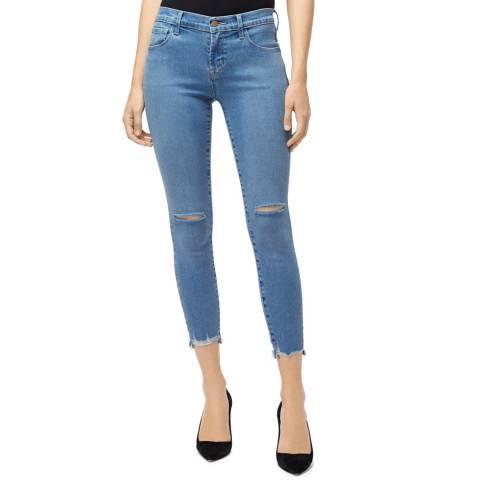 J Brand Blue Destruct 835 Mid Rise Crop Skinny Jeans